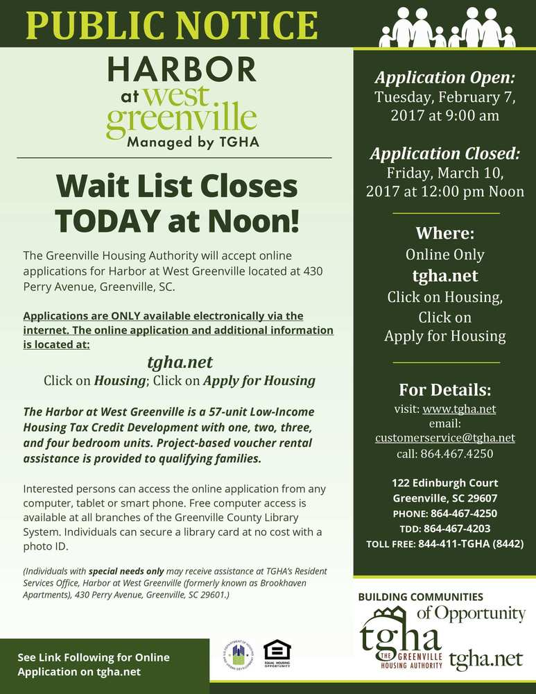 The Harbor at West Greenville Community - Wait List Closes TODAY