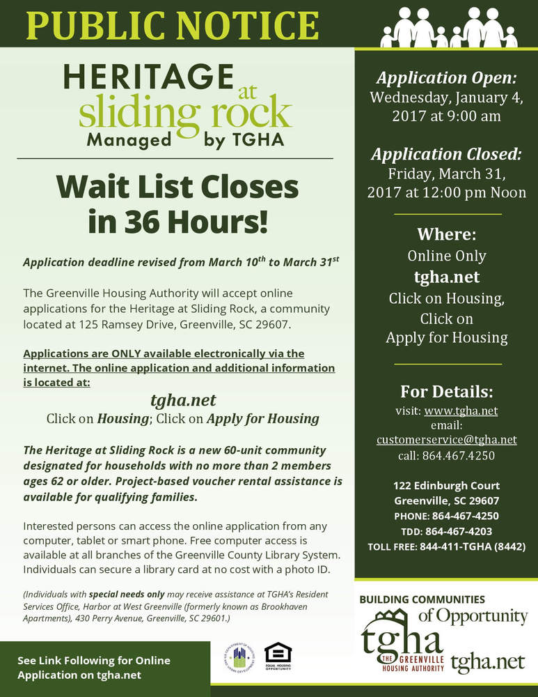 Wait list for Heritage at Sliding Rick Community closes in 36 hours 3/31/17