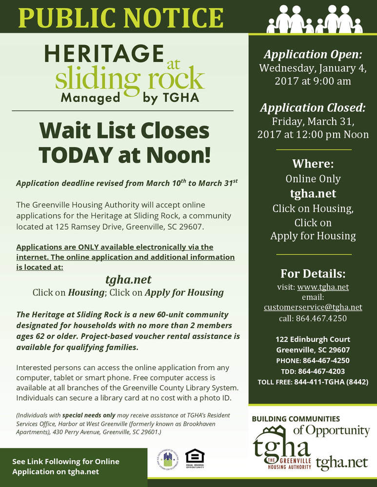 Wait List Closes TODAY  for Heritage at Sliding Rock at noon 3-31-17