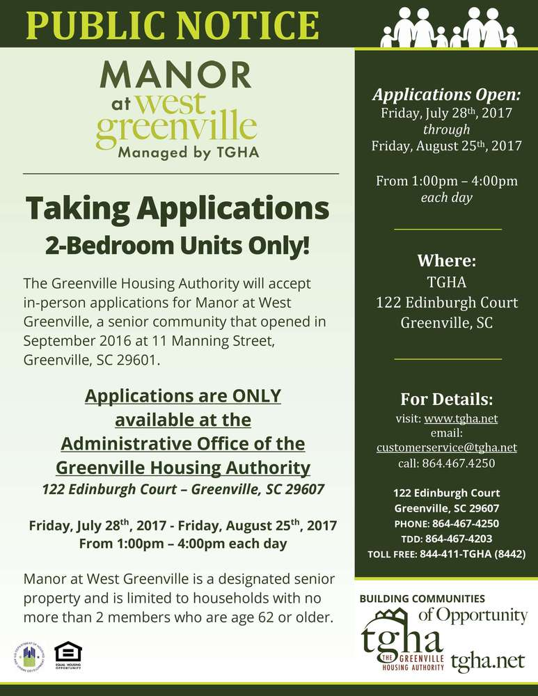 2-Bedroom Units: Applications close TODAY at 4pm for the Manor at West Greenville Community!