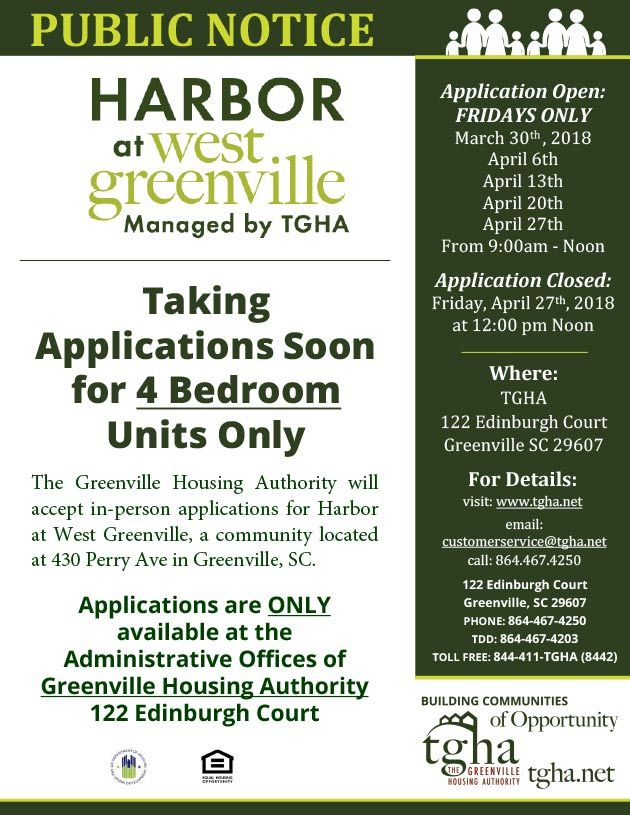 accepting applications harbor west greenville
