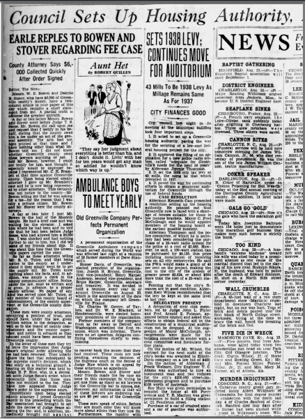 Article from the Greenville News - 8/24/1938
