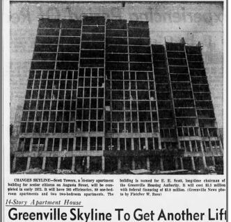 1972.07.02 - Scott towers Changes Greenville skyline