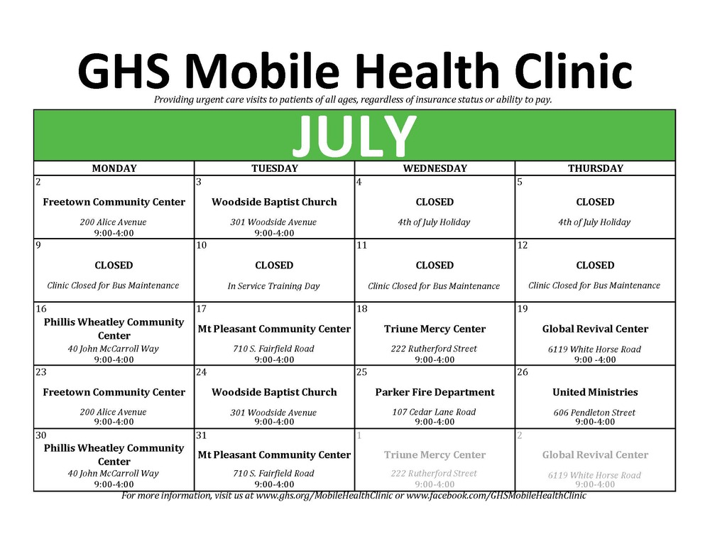 GHS Mobile Health Clinic - July 2018