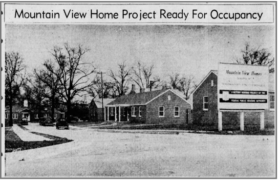 Mountain View Home Project Ready for Occupancy newspaper article from January 24, 1943