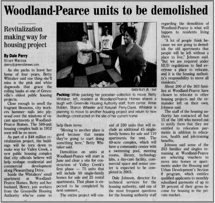 Woodland-Pearce Units to be demolished newspaper