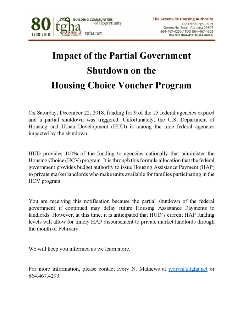 Impact of the Partial Government  Shutdown Notice to Landlords - 01.11.2019