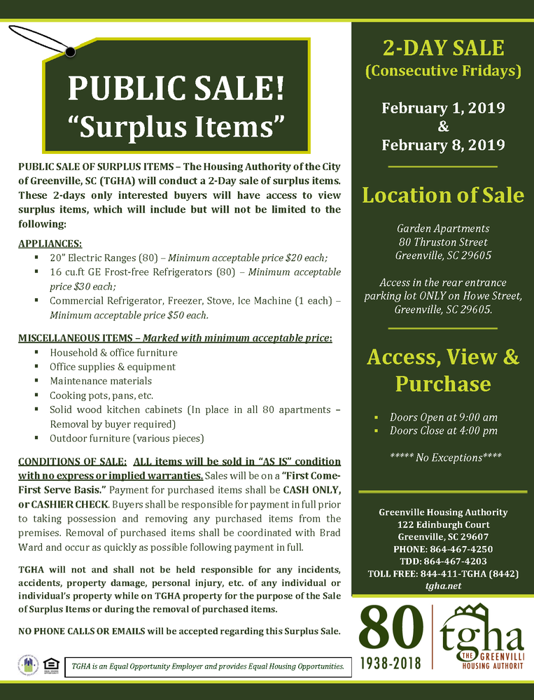 Ad - Public Sale of Surplus Items- 01.28.2019