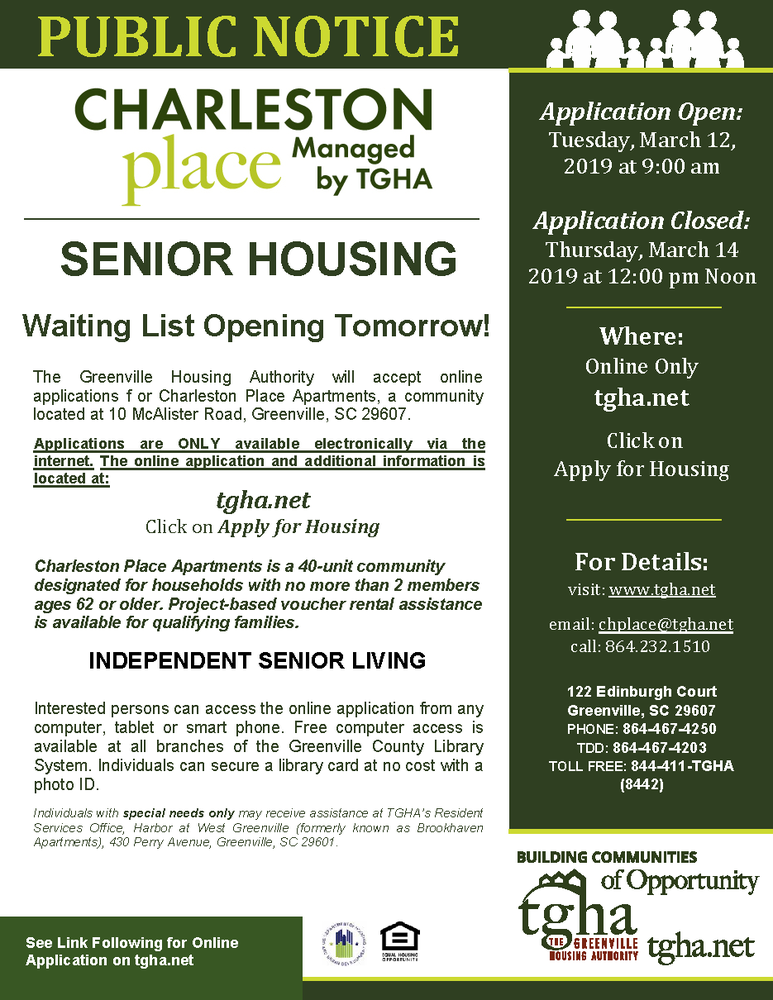Charleston Place taking application tomorrow March 12, 2019