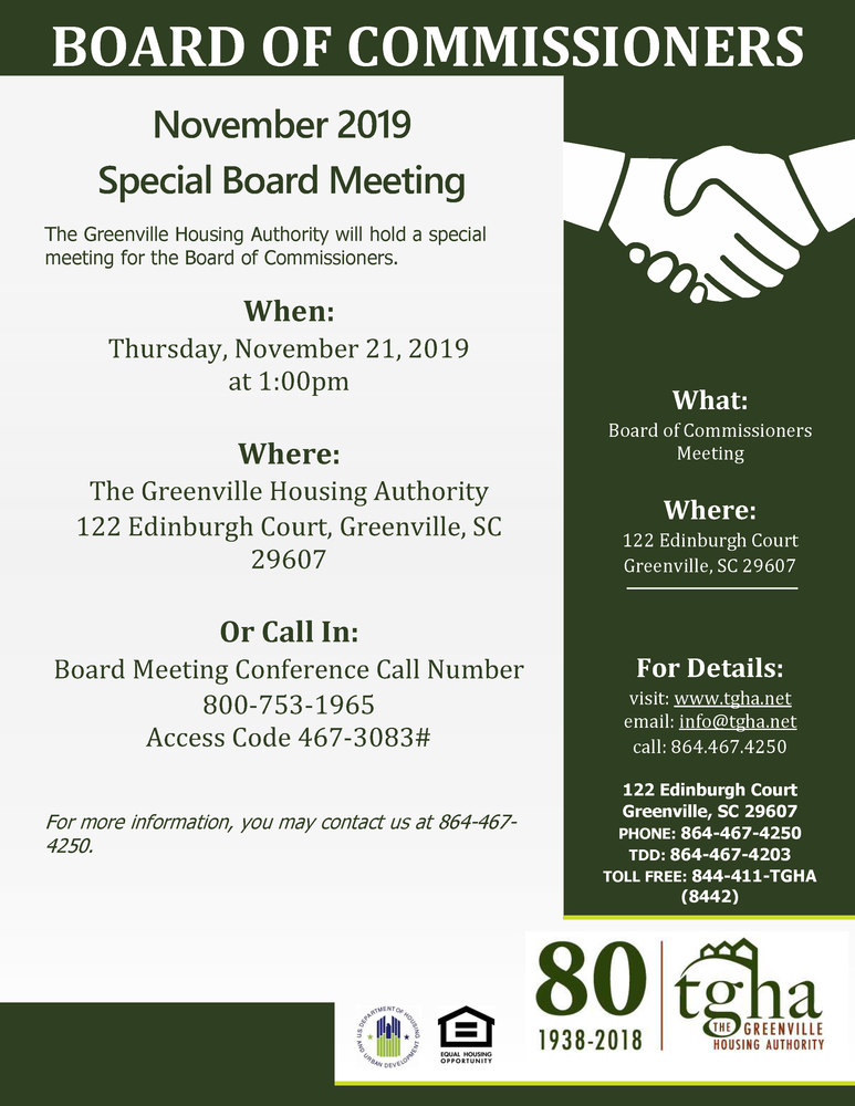 Special Board Meeting Public Notice November 21, 2019