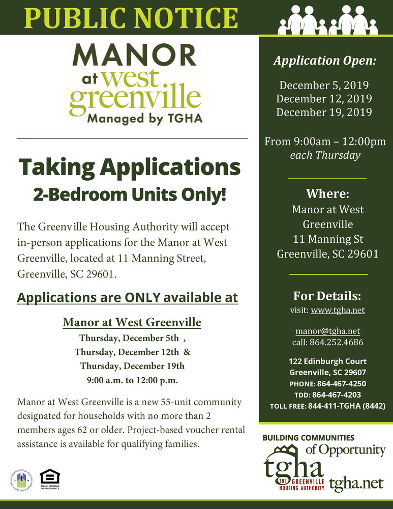 Manor at West Greenville - Wait List Opening 2 bedroom