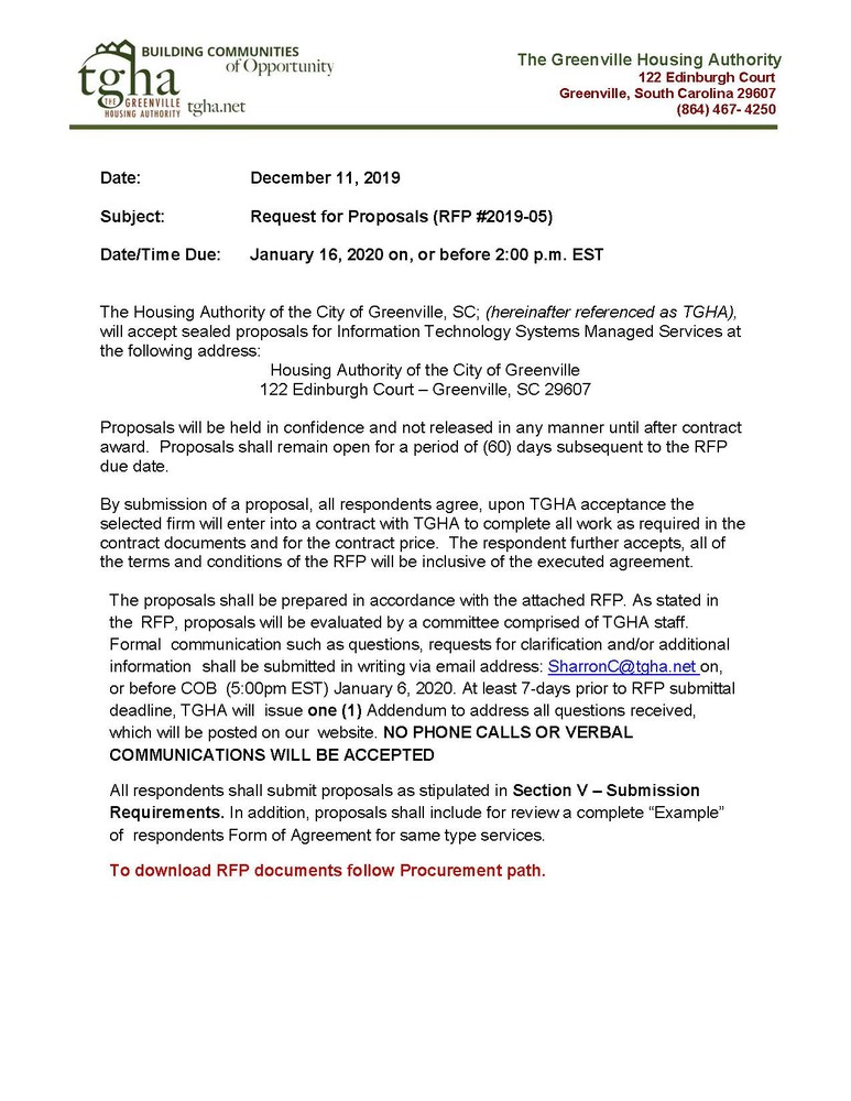 IT SYSTEMS MANAGED SERVICES RFP flyer