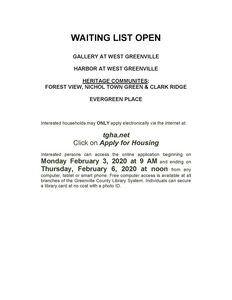 Waiting List Open for 4 properties -  February 2020