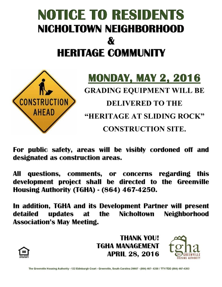 Heritage at Sliding Rock Construction Notification