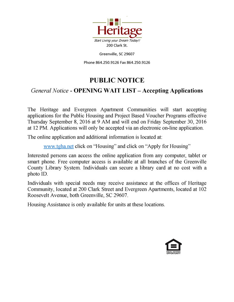 Heritage and Evergreen Public Notice WL opening 2016
