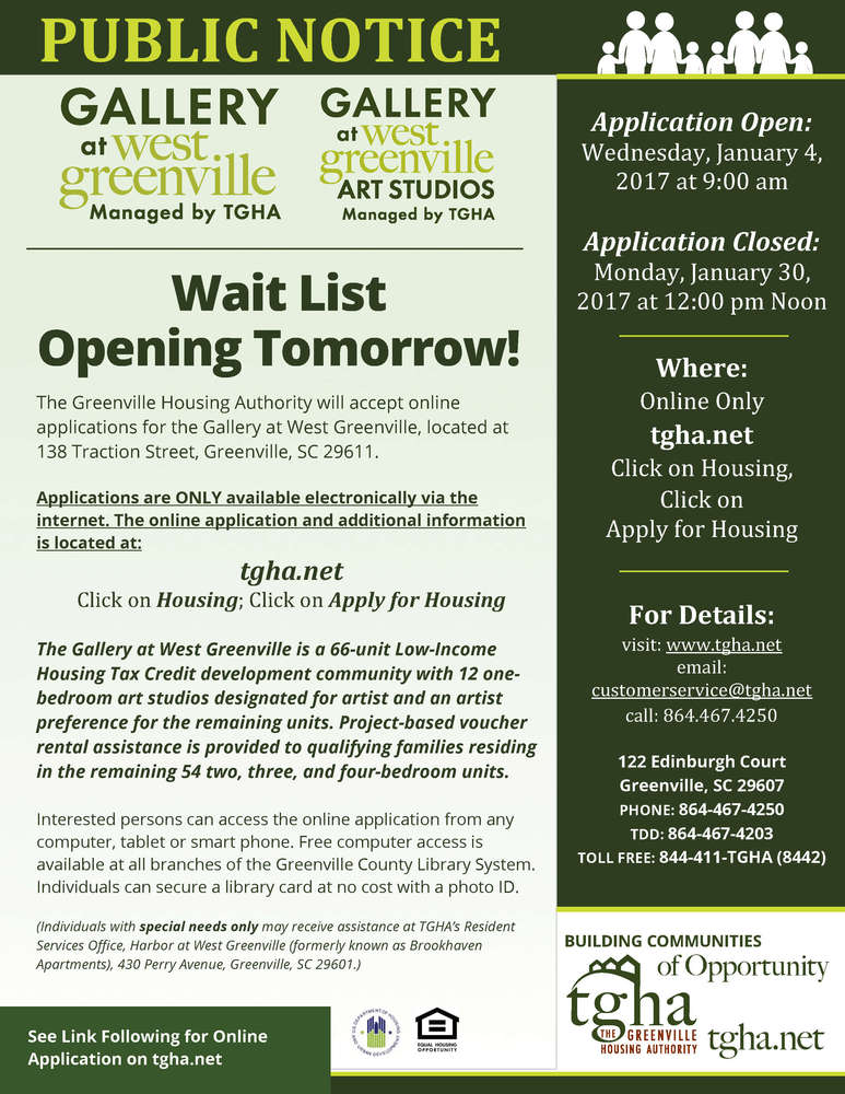 Wait list is opening tomorrow January 4th for the Gallery at West Greenville Community!