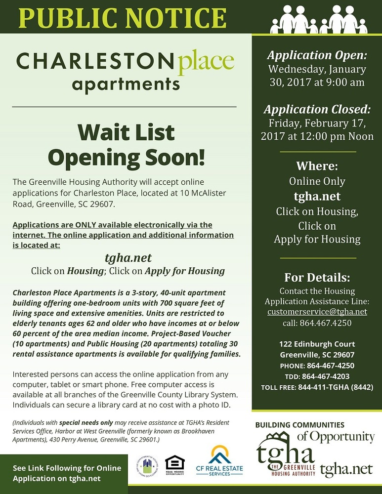 Charleston Place Community wait list opening soon!