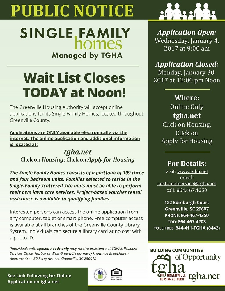 Single Family Homes wait list closes today!