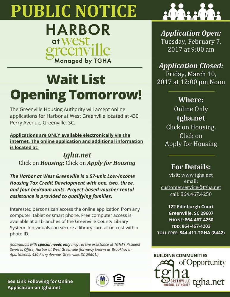 Harbor at West Greenville wait list opens tomorrow!